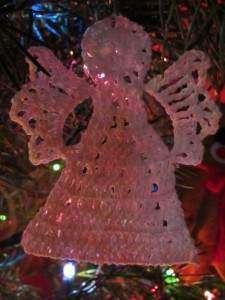 Crocheted angel ornament