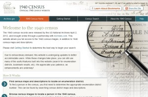 1940 Census Website screen grab.
