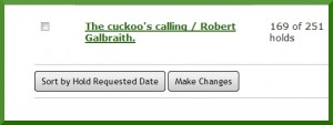 Place on hold list for The Cuckoo's Calling